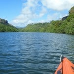 View of Wailua River from a kayak