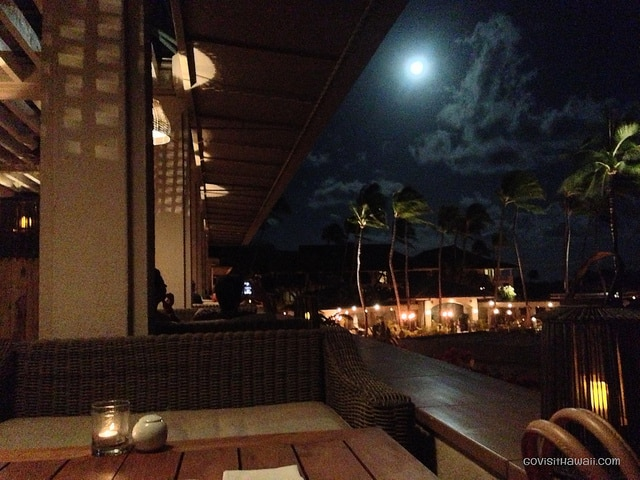 Dining at Nobu Lanai on a romantic moonlit night.
