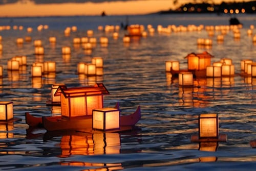 Lanterns on the ocean