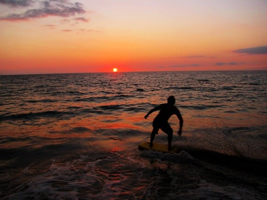 Hapuna skimboarder at sunset
