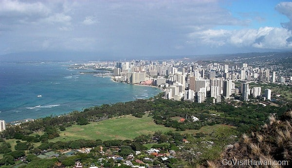 view of waikiki beach from diamond head