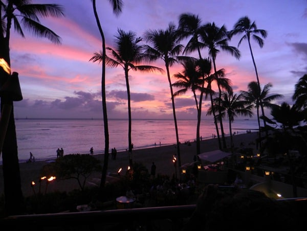 first waikiki sunset by Debi Kramer