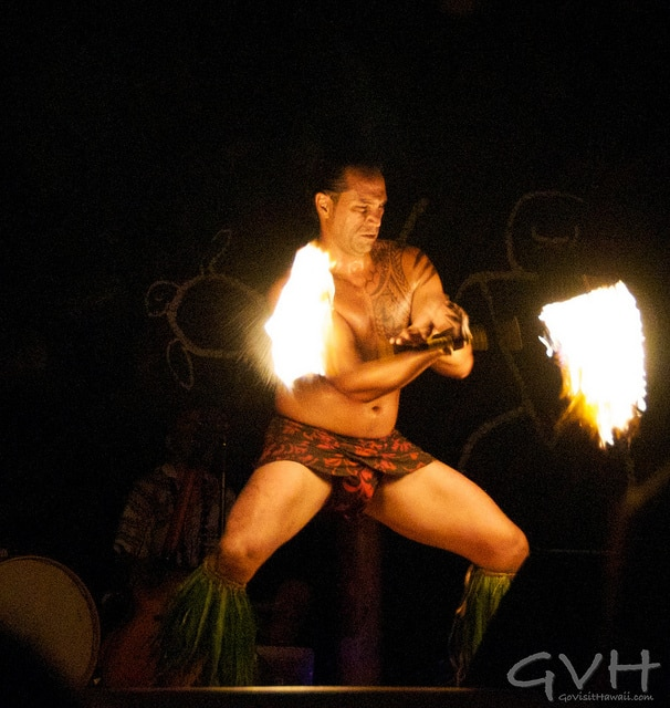 Fire knife dancer at the Hilton Waikoloa Village Luau