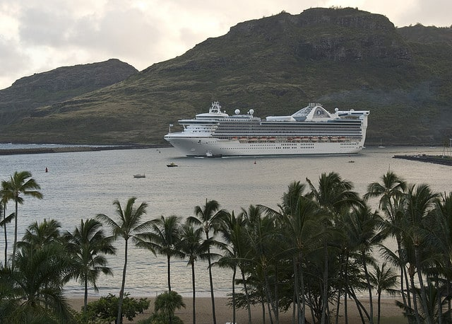 Cruise ship in Nawiliwili Harbor on Kauai