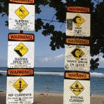 Beach safety signs at Ke&#039;e Beach, Kauai