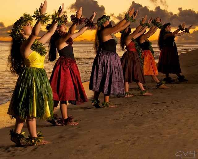Female hula dancers in Hawaii