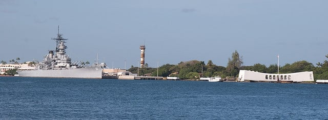 A view of Pearl Harbor showing the USS Missouri Battleship and the USS Arizona Memorial