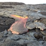 Pahoehoe lava flowing on Hawaii, the Big Island