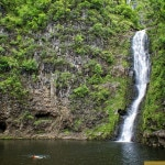 The bottom half of Mo'oula Waterfall in Halawa Valley