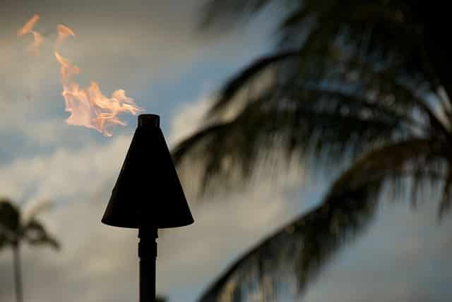 tiki torch on an April evening