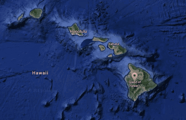 Satellite view of the Hawaiian Islands