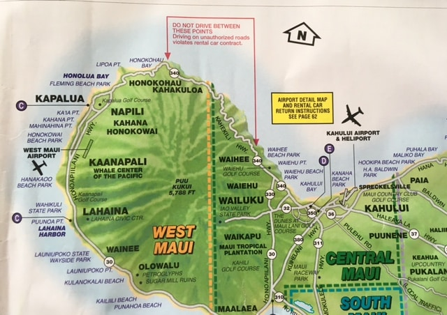 Hawaii Map Maui.Beware Of Driving In Northwest Maui Go Visit Hawaii