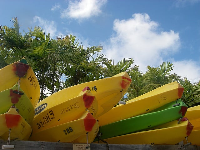Stacked kayaks at Kailua Kayaks