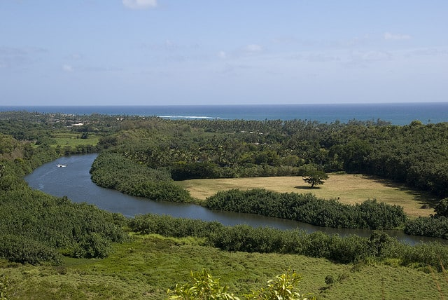 A view of Wailua River Valley from one of the overlooks off