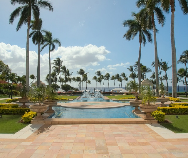 Peaceful water features on the grounds of Grand Wailea