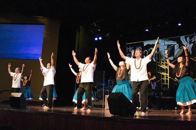 Hula performed in a Hawaiian church
