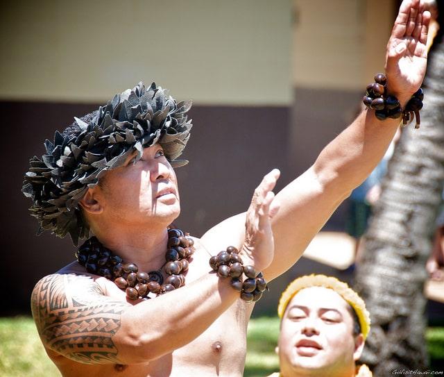 Hawaiian hula ceremony