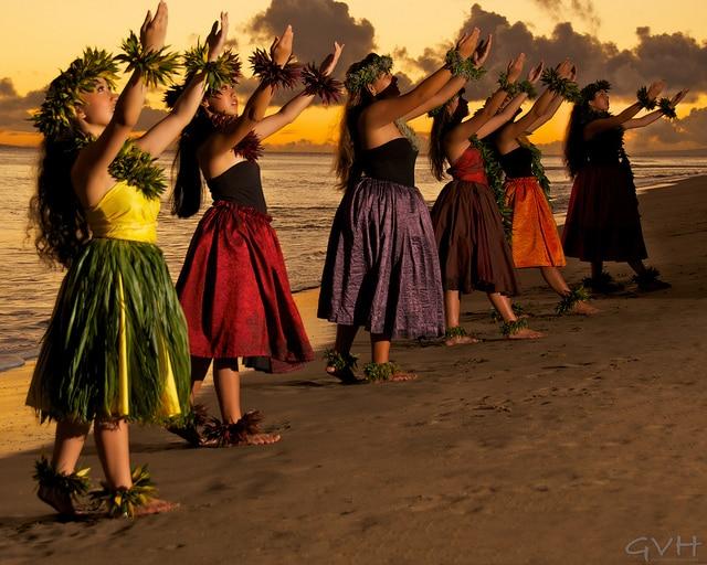 Female hula dancers in Hawaii