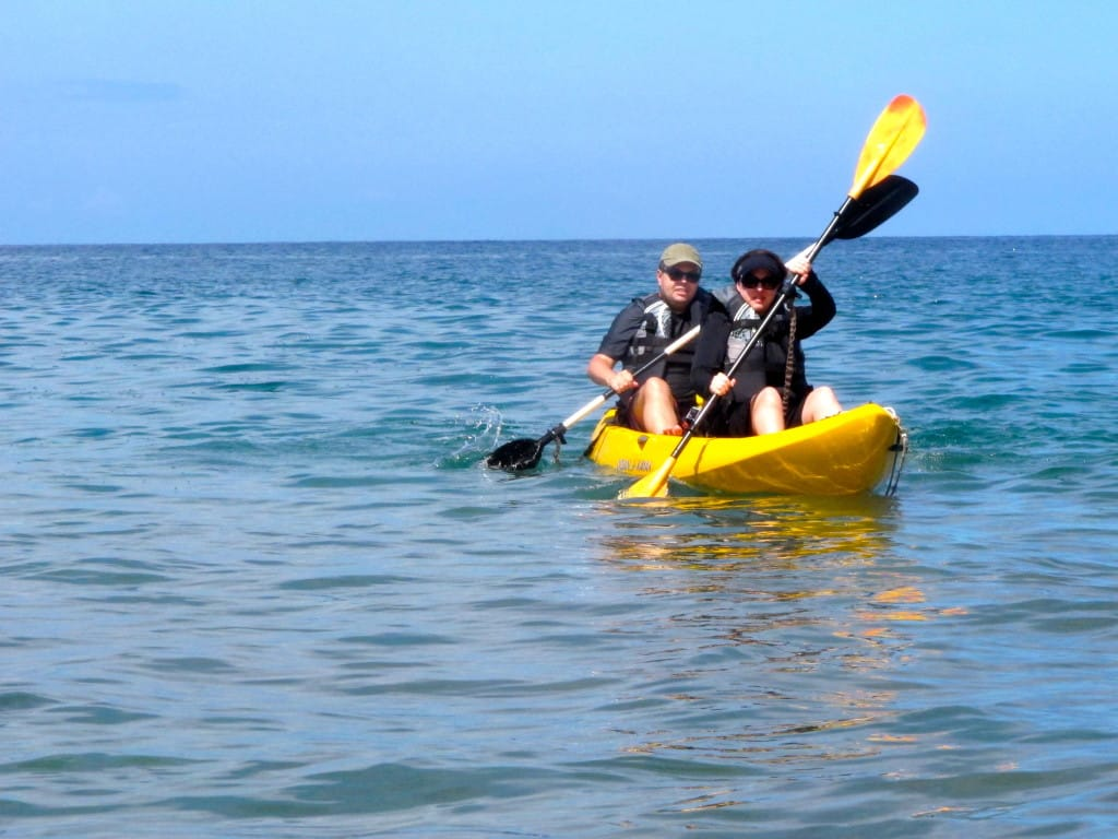 Your hosts, Andy and Sheila, kayaking in Wailea.