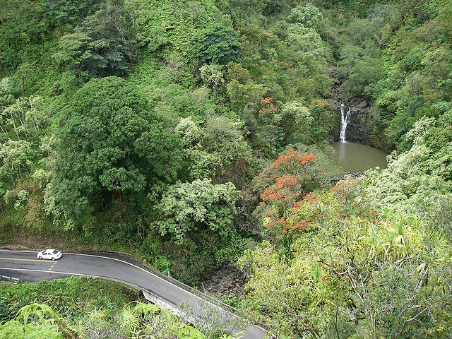 A view of Puokokamoa Falls off the road to Hana from the Garden of Eden