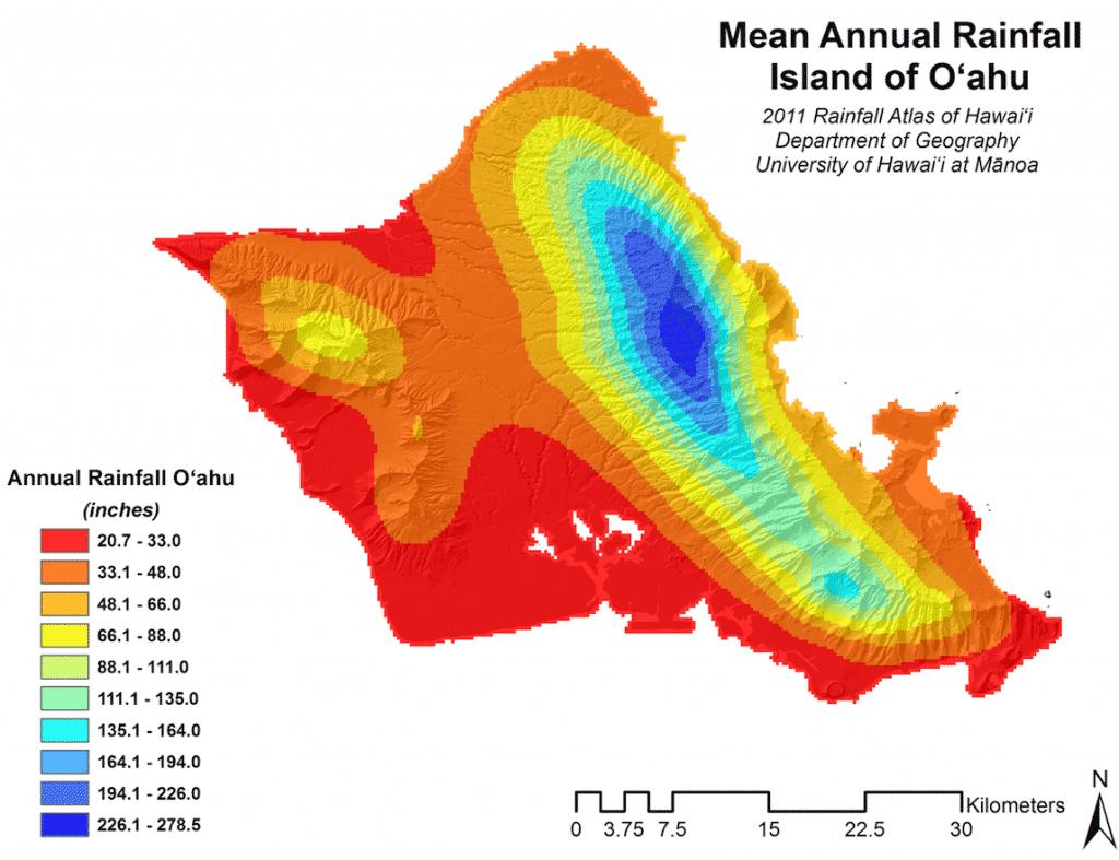 Annual rainfall Oahu map