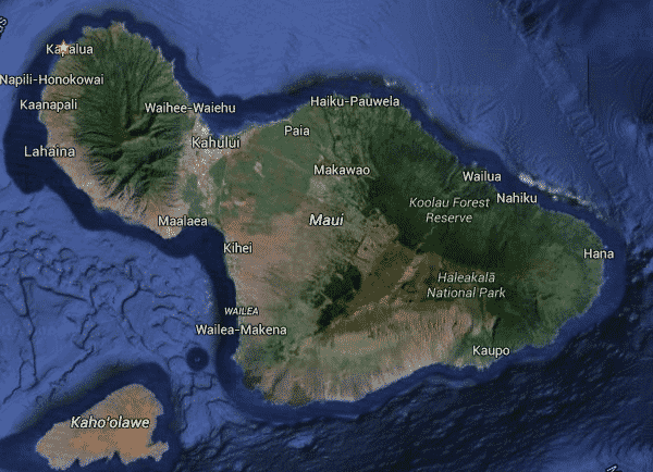 sat view of Maui from Google Maps