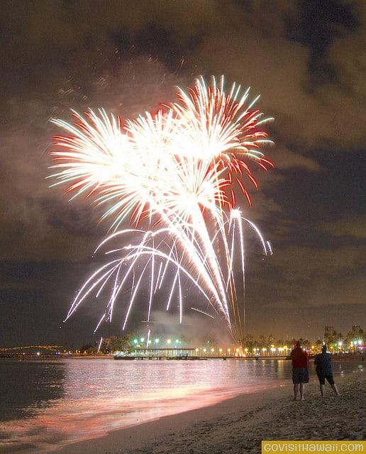 fireworks from waikiki beach
